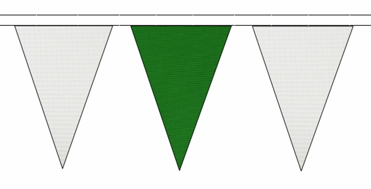 blanc & Mid vert Triangular Flag Bunting - 50m with 120 Flags