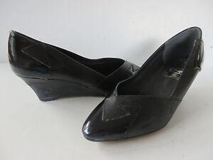 Details zu PORTOFINO ° chice PUMPS Gr. 38 schwarz Leder Keilabsatz Damen Schuhe Wedges TOP