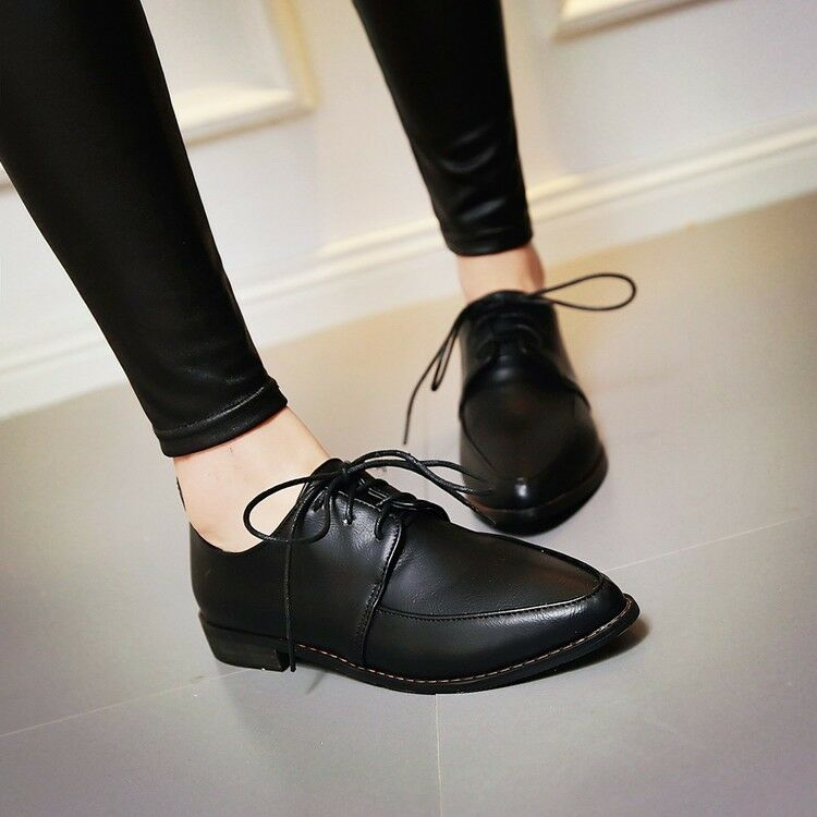 Soft Leather Pointed Toe Oxford Brogue shoes Womens Work Lace Up Flat Heel shoes