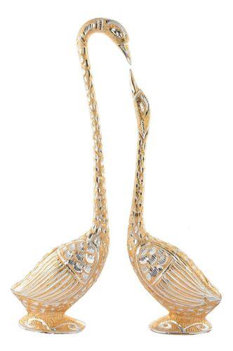 Aluminium, Golden Indian Handmade Pair Of Kissing Duck Showpiece 33.02 cm