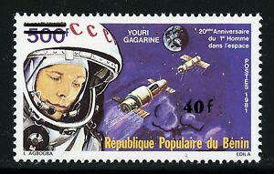 Space-Raumfahrt-1984-Benin-Gagarin-Kosmonaut-Raumkapseln-Aufdruck-362-1086