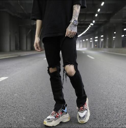 Herenmode verzwakte gat geript broek denim skinny jeugd casual broek zwarte wqwrOp