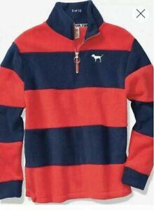 Victorias-Secret-Pink-Polar-Fleece-Half-Zip-Size-XS-Sweater-Red-Stripes-blue