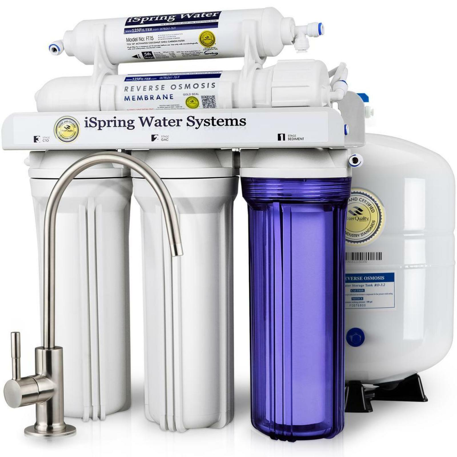 ISPRING WQA Reverse Osmosis 6-Stage 75GPD Alkaline Water Filtration System