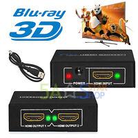 Fach 3D HDMI Splitter Switch Verteiler 1080p 1x2 HDTV 1 In 2 Out 3D PC Full HD