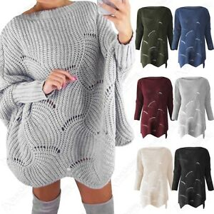 outlet on sale nice cheap better price Details about NEW LADIES SCALLOP HEM JUMPER DRESS WOMEN CHUNKY KNIT  OVERSIZE FIT LONG LOOK TOP