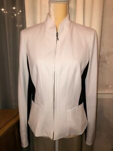 Tahari-White-Jacket-Black-Accents-Sides-Sleeves-New-W-out-Tags-Women-s-Small
