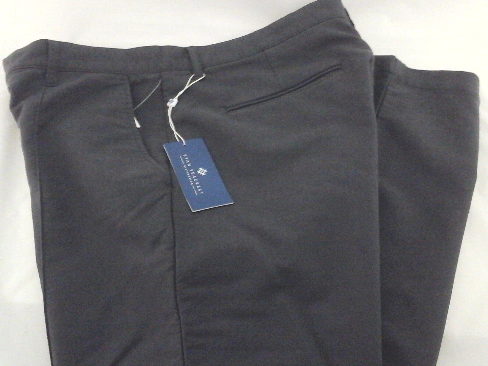 RYAN SEACREST Distinction Pants Textured Front Seam Grey Stretch Modern Mens
