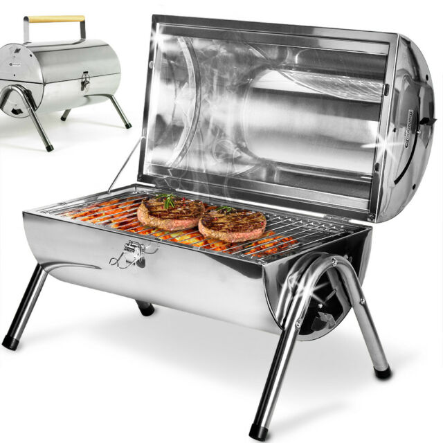 Bbq Grill Charcoal Barbecue Portable Mobile Stainless Steel Table Camping Small