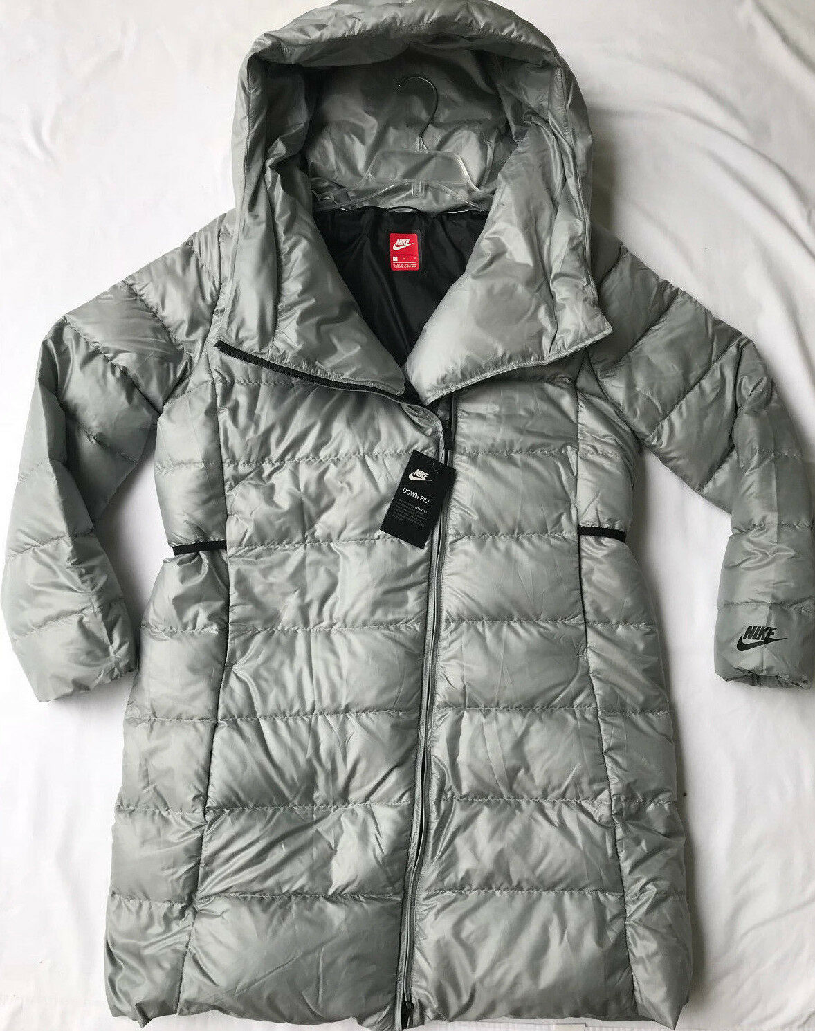 988aa0c54 Nike Long Down Fill Puffer Hooded Jacket Coat Silver Womens Large 854759 065