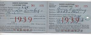 1939 state of nevada deer hunting license tag mailer ebay for Fishing license nevada