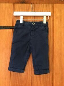 M&s Garçons Bleu Pantalon Âge 3-6 Mois 100% Coton-afficher Le Titre D'origine