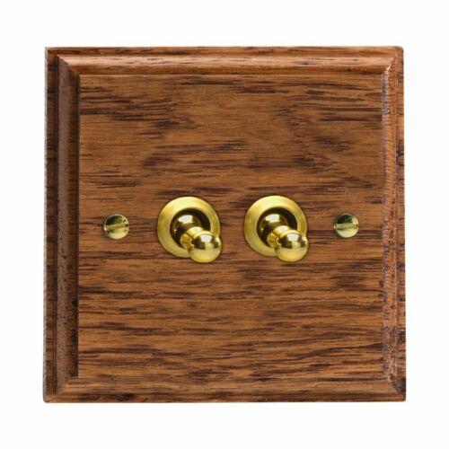 Varilight XKT2MO Kilnwood Medium Oak 2 Gang 10 A 1 ou 2 Way Toggle interrupteur de lumière