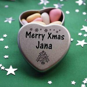Merry Xmas Jana Mini Heart Tin Gift Present Happy Christmas Stocking Filler