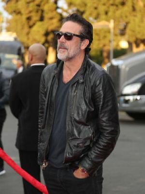 The Walking Dead Negan Jeffrey Dean Morgan Motorcycle Black Leather Jacket