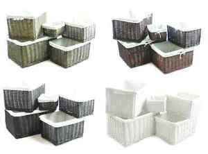 braun oder weiss gro breiter korbweide aufbewahrung k che spielzeug holzklotz ebay. Black Bedroom Furniture Sets. Home Design Ideas
