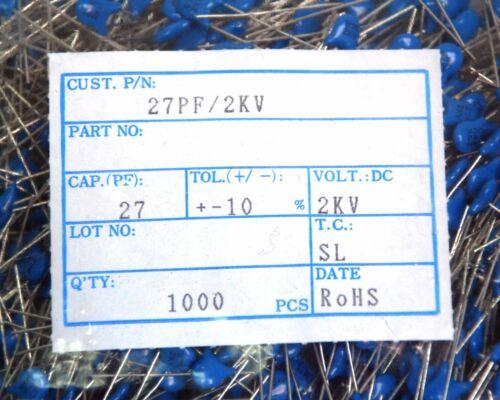 100pc Disc Ceramic Capacitor 27pF 2KV K ±10/% SL Pitch=5mm RoHS Taiwan Blue *