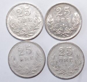 1914-x-2-amp-1937-x-2-25-Ore-Sweden-Silver-a-Lot-of-4-Value-Coins