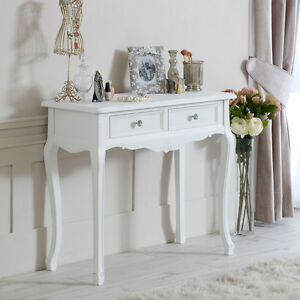 White wood console dressing table shabby vintage chic bedroom hall ...