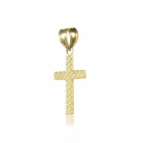 Polished Charm 10K Solid Yellow Gold Cross Pendant Singapore Chain Necklace Set