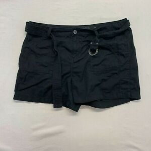 Calvin Klein Belted Shorts Women's Size 16 Black Cotton High Rise Casual Shorts