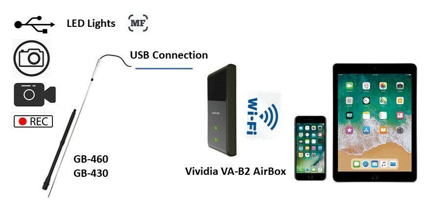 Pistola Vividia GB-430-W USB Boroscopio Bundle  GB-430 y Wifi Caja Para Iphone Ipad
