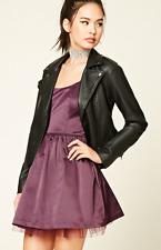 Eggplant Purple Satin Bow Back Tulle Short Sleeveless A-Line Dress NWT M