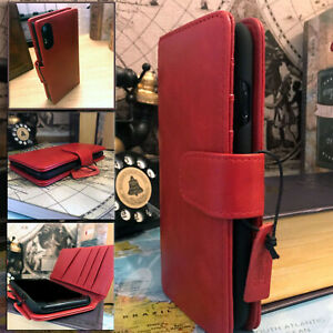 Samsung-Galaxy-A50-Real-Leather-Pelle-Wallet-Folio-Book-Case-RED-Mint