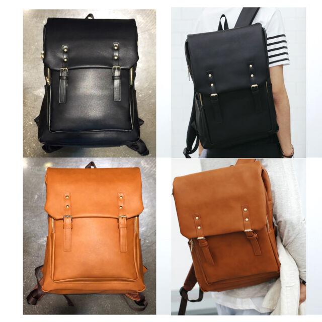 Korea Fashion Men Women Macao Backpack School Travel Business Bag Faux Leather