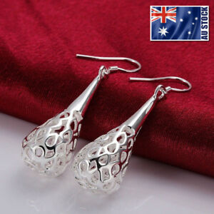 NEW-Wholesale-925-Sterling-Silver-Filled-Filigree-Teardrop-Drop-Dangle-Earrings