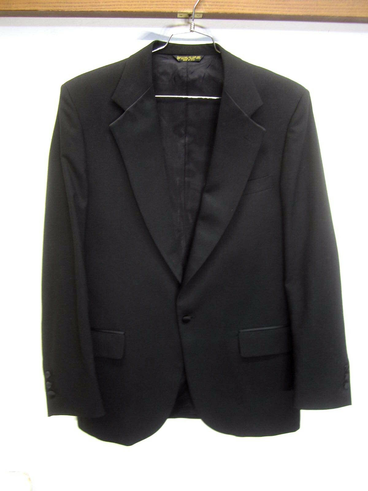 Vtg Stafford Tuxedo Blazer Sport Coat one-button satin lapels sz 43L made in USA