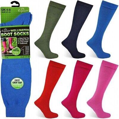 3 Pairs of Ladies Gentle Grip Top Wellington Boot Socks Welly Socks