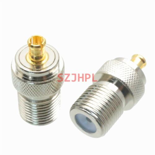 1pce Adapter 75 ohm F TV female jack to MCX male plug RF connector straight F//M