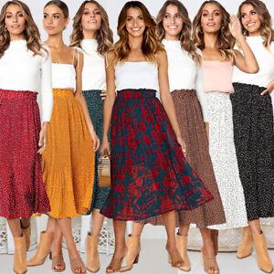 Women-039-s-Ladies-Midi-Skirt-Elastic-Waist-Flared-Skater-Swing-Casual-Party-Dress