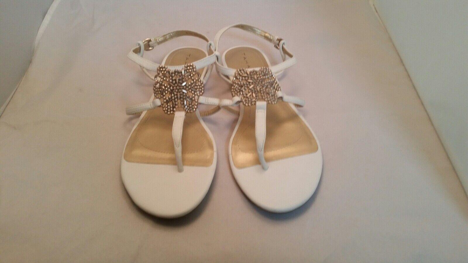 Tahari Raven Golden Metal Flat Embellished T Strap Ankle Strap Flat Metal Sandals bf08de
