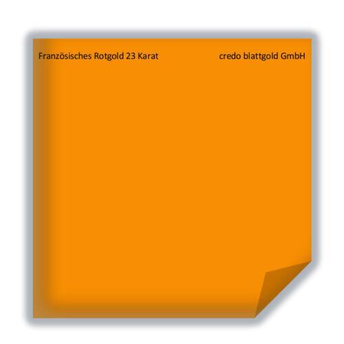 25 feuilles 8 x 8 cm dorure Français Rotgold Blattgold 23 CT Transfer