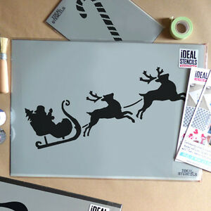 santa reindeer stencil christmas window display stencil art craft