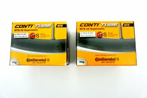 2x Fahrrad Continental Schlauch 47-55//559 S42 MTB 26 SUPERSONIC