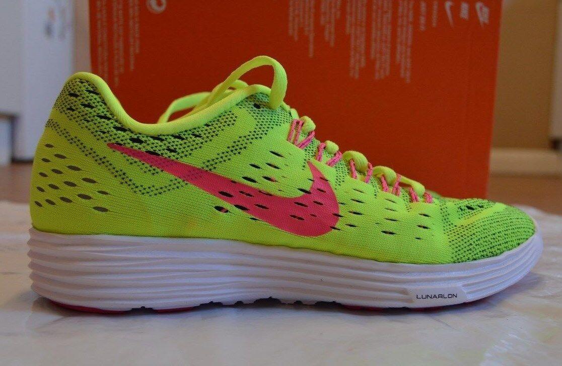 Bnib Damens's Nike Lunar Tempo volt/pink/schwarz/Weiß trainers Größe UK 5 EUR 38.5