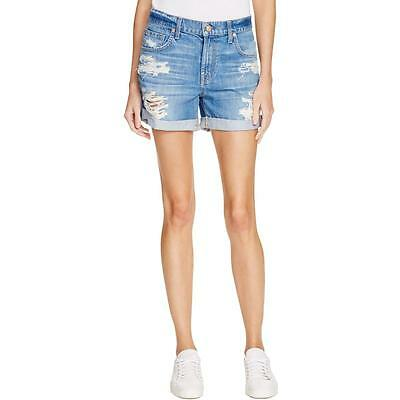 7 For All Mankind 5048 Womens Destroyed Cuffed Patch Pockets Denim Shorts BHFO