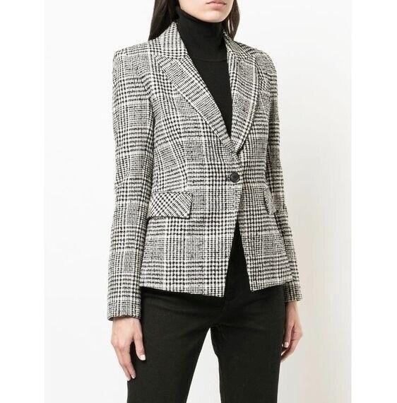 Veronica Beard Wool Blend Rhett Plaid Dickey Jacket Black White Size 4