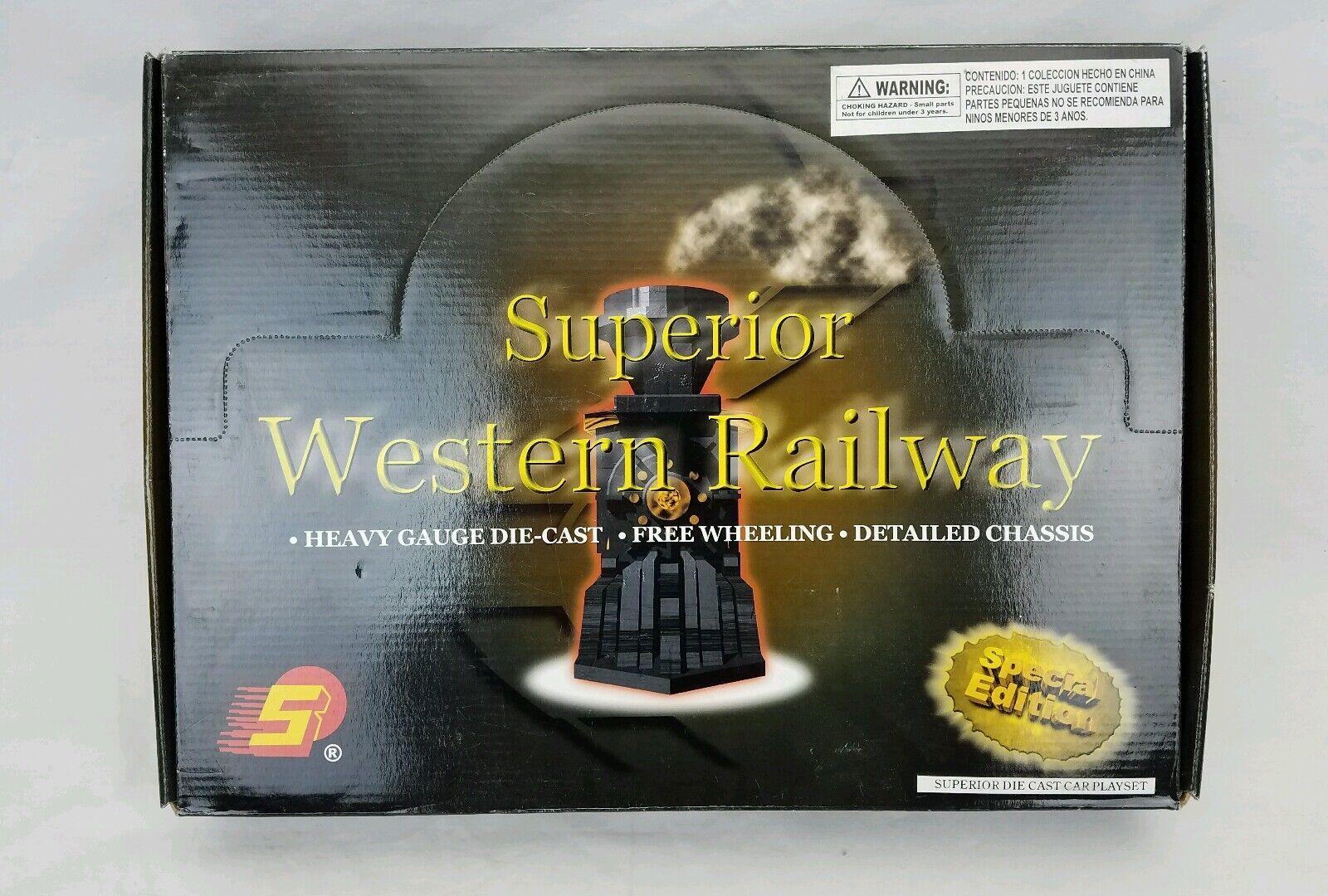 Superior Western Railway Die-cast Train Locomotive Set Of 6 Playset