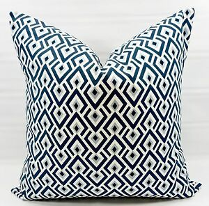 "Blue  Archery Print Pillow Cover.  Premier Blue & White Cotton. Select Size by ""Handmade"""