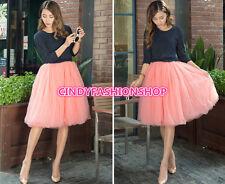 New Women Girl Stylish 7 Layers Tutu Skirt Petticoat Knee-Length  Dress 59cm USA
