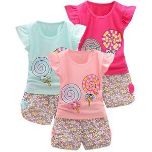 2PCS-Toddler-Baby-Girls-Lollipop-T-Shirt-Tops-Shorts-Pants-Summer-Outfits-Set