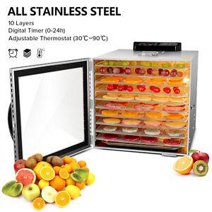 10-Trays-Stainless-Steel-Food-Dehydrators-Beef-Jerky-Maker-Fruit-Dryer-LED-light