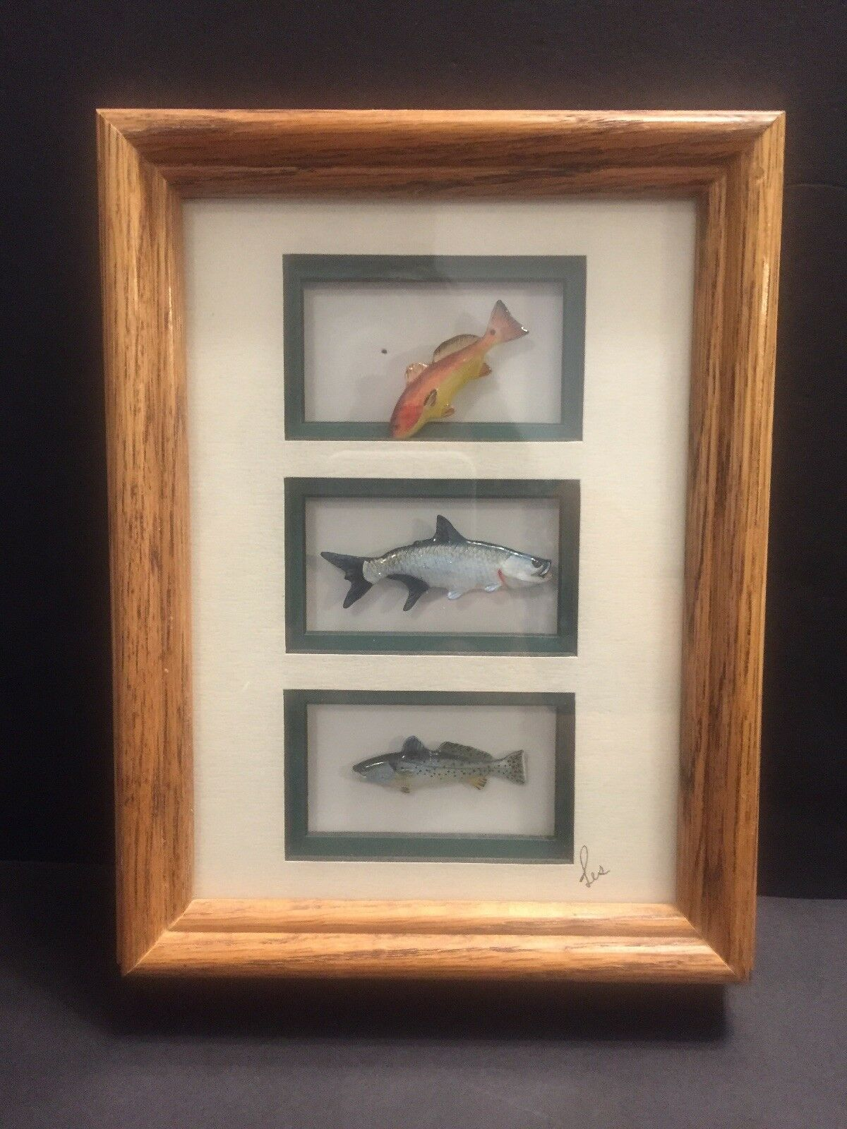 Wild Life Pins 3 Painted Fish In Shadow Box Creative Castings Les Douglas