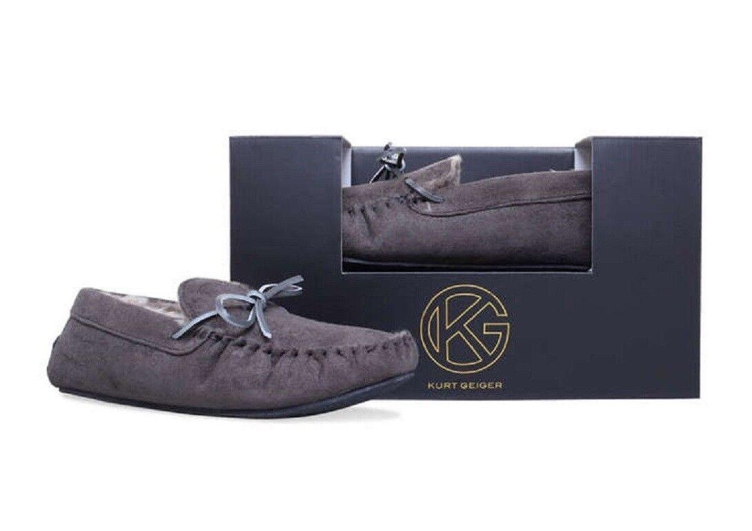 Mens Kurt Geiger Slippers Slippers Slippers Hugo Moccasin grau KG New in Box  | Guter weltweiter Ruf  c591ab