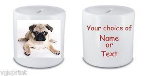 perro-carlino-Personalizado-Ceramica-Blanca-Caja-de-Dinero-HUCHA
