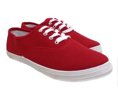 Ladies Flat Red Plimsoles Plimsolls